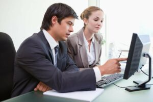 Business man and woman in meeting