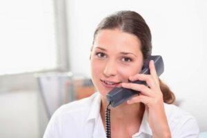 Woman answering call
